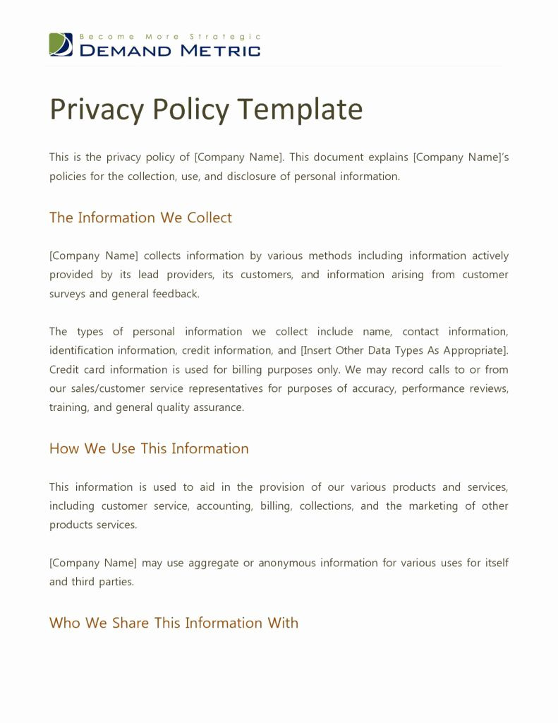 Sample Of Privacy Policy Statement in 2020 Policy