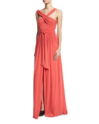Sleeveless+Knotted+Jersey+Cross-Front+Gown+by+Halston+Heritage+at+Bergdorf+Goodman.