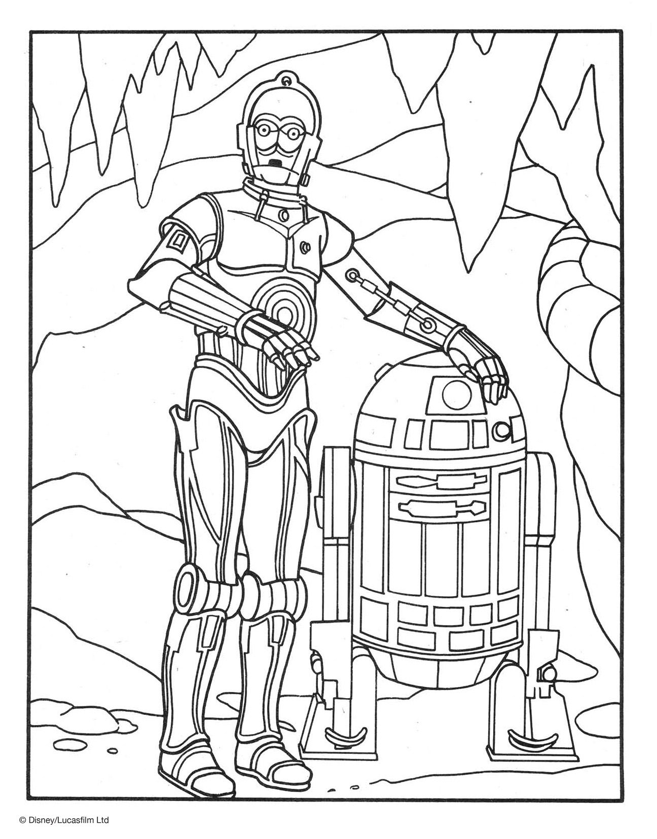 Add a little color to the galaxy far far away with this r2 d2 and c 3po coloring page