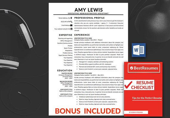 Resume Template Instant Download ▫ Professional Resume Template - executive resume templates word