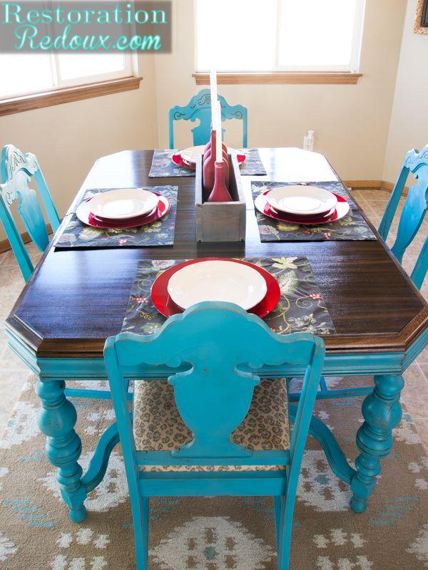 Amazing Turquoise Chalkpainted Dining Set