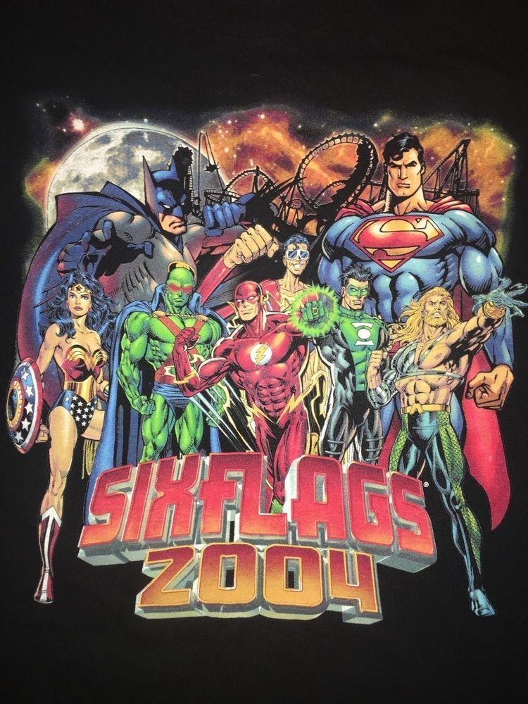 Dc Comics Lineup Six Flags Souvenir T Shirt Medium Wonder Woman Flash Aqua Man Sixflags Graphictee Comic Book Cover Wonder Woman Dc Comics