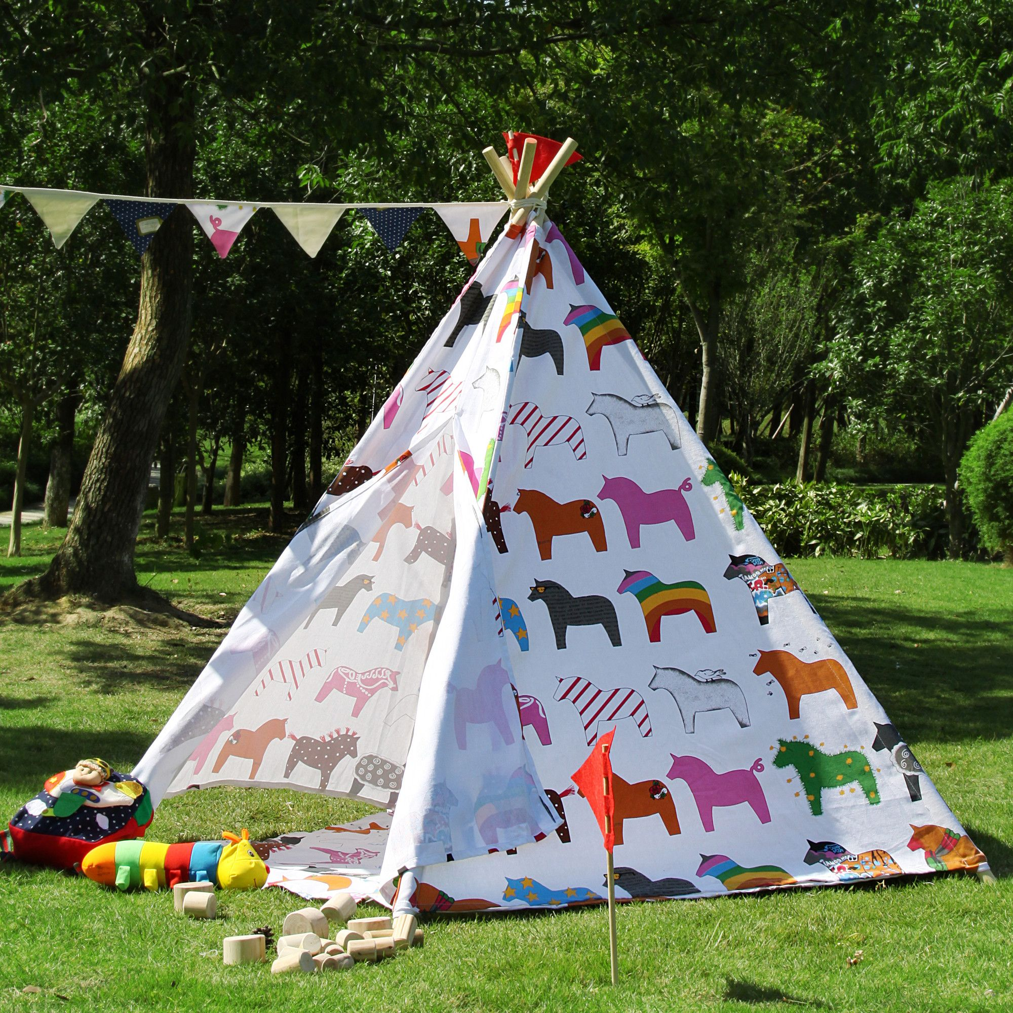Outdoor Kinder Large Kids Horse Pentagon Teepee Outdoor Tent Wayfair Australia