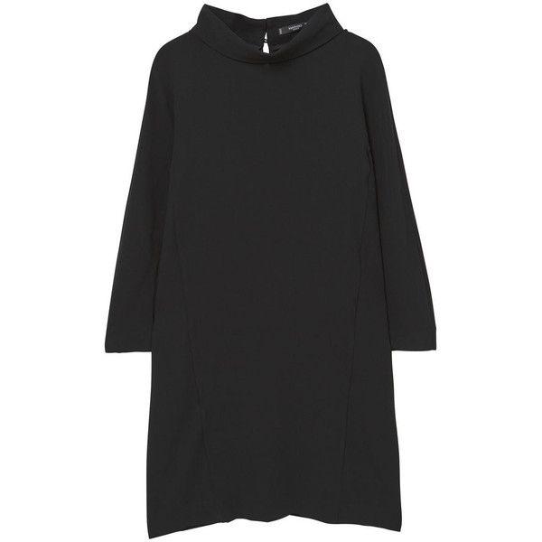 MANGO Flowy Shift Dress (€71) ❤ liked on Polyvore featuring dresses, longsleeve dress, long sleeve dress, long sleeve shift dress, shift dresses and funnel neck dress