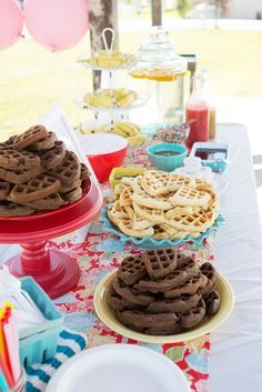 Waffle Party, two year old birthday, breakfast birthday party