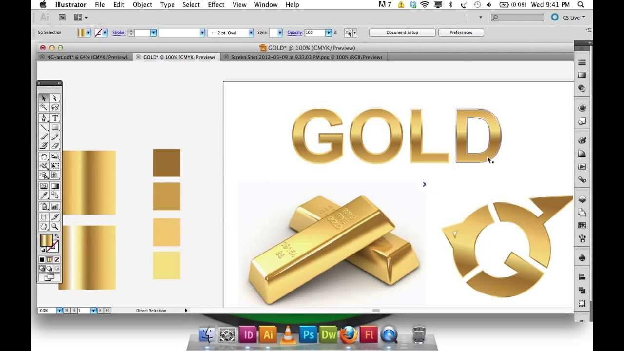 How to create metallic gold effect in Illustrator. Great step by step  video, but no audio.
