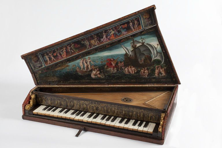 """1600 Italian Octave spinet at the Victoria and Albert Museum, London - From the curators' comments: """"Octave spinets were portable keyboard instruments, widely used in private homes in Italy throughout the seventeenth and eighteenth centuries to accompany singing."""""""