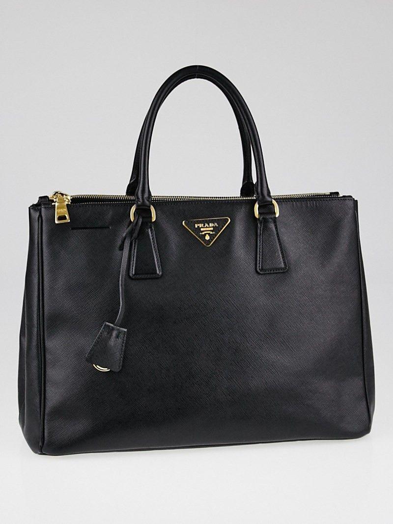 8e26a8df1e27 Prada Black Saffiano Lux Leather Large Double Zip Tote Bag B1786 ...
