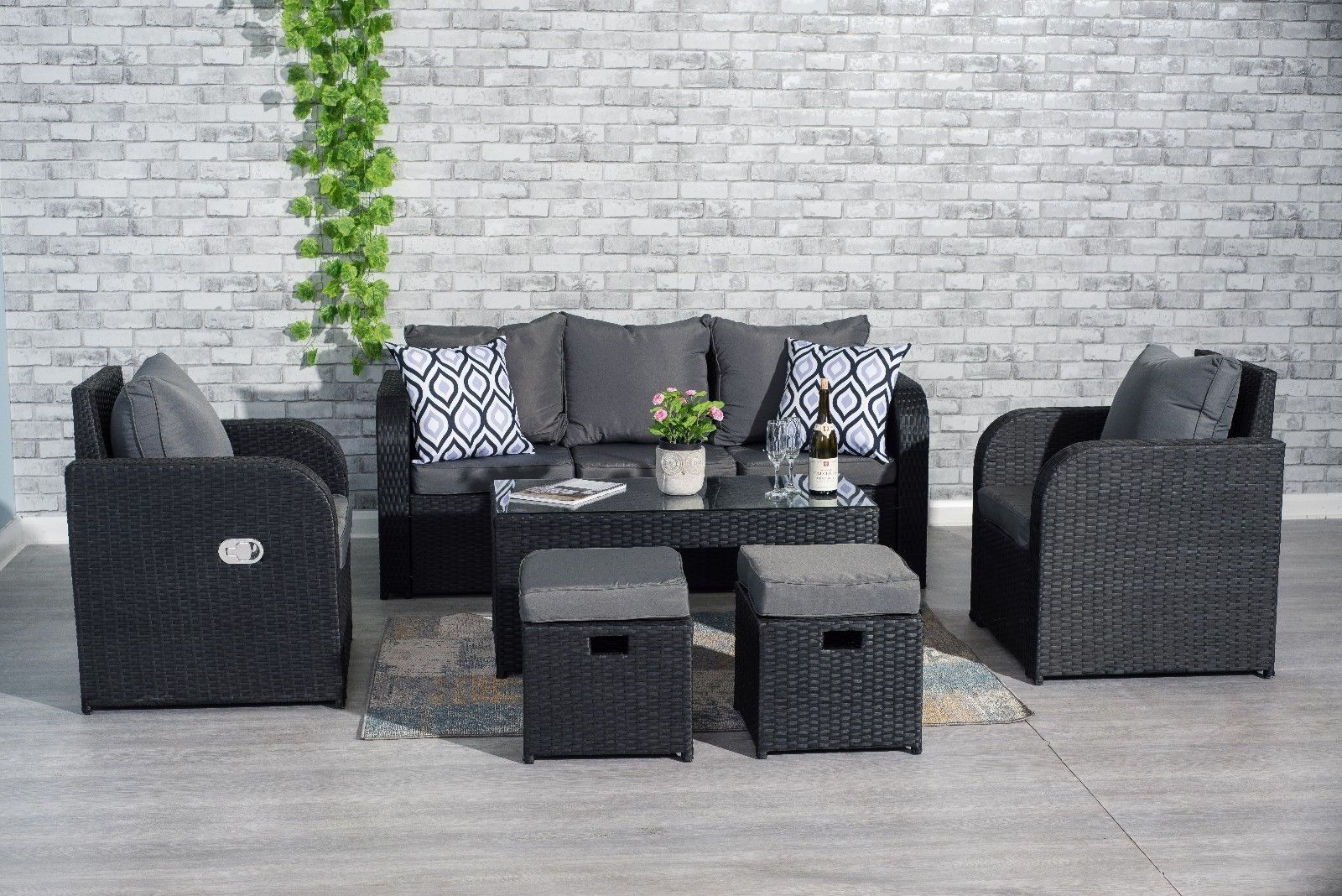 Yakoe Outdoor Rattan Garden Furniture 5 Seater Corner Sofa Patio Set Black For Sale Online Ebay Rattan Garden Furniture 5 Seater Corner Sofa Rattan Garden Furniture Sets
