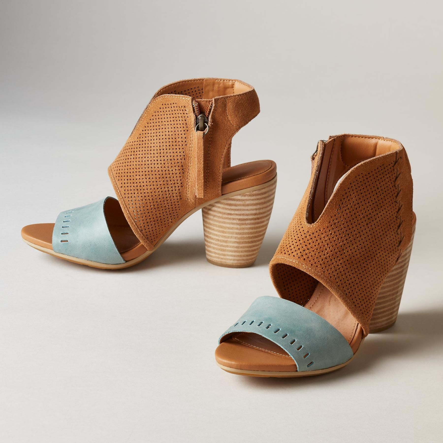 "SARABAH SANDALS -- Western-inspired, designed in Australia, these statement sandals by EMU Australia® have a world-wise savoir faire. Leather. Imported. Whole and half sizes 6 to 9, 10. 3"" heel."
