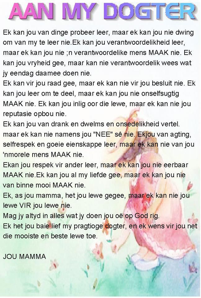 Aan My Dogter Girls Afrikaanse Quotes Afrikaans Quotes