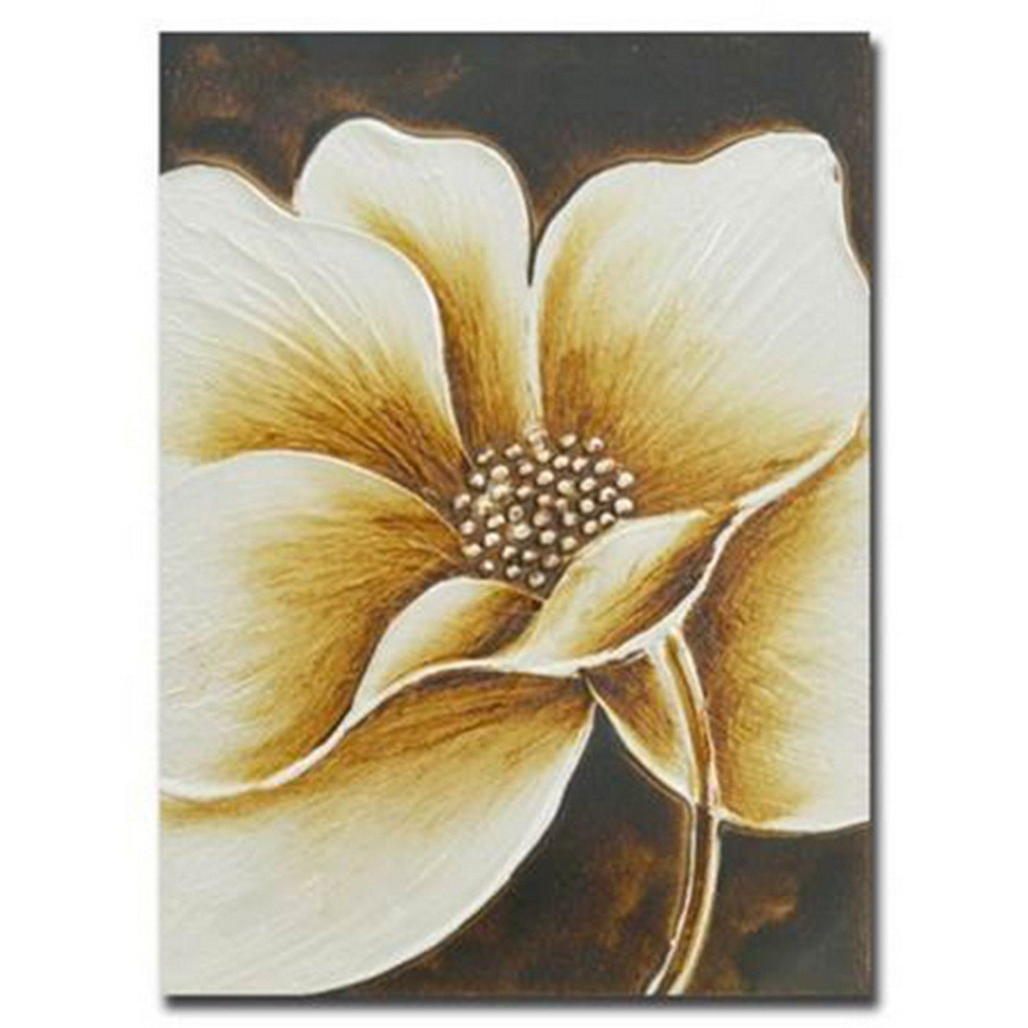 Buy Hand Painted Brown Metallic Floral Canvas | Gallery Wall Art ...