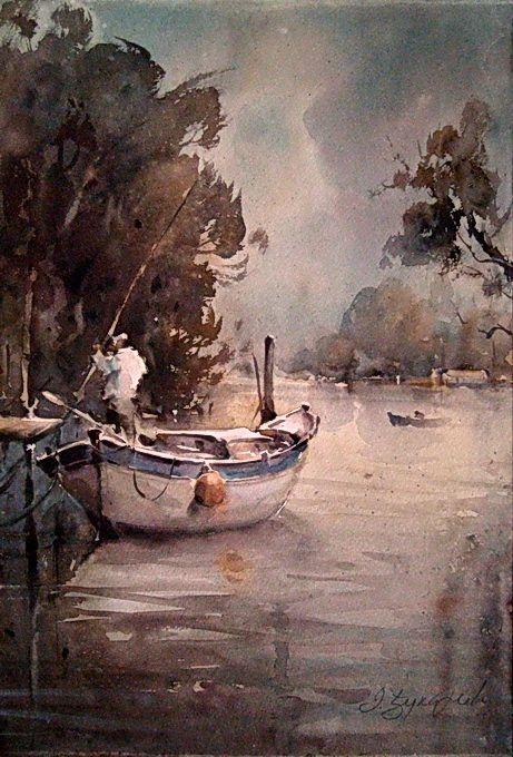"""Dusan Djukaric, """"Fisherman on Danube"""""""