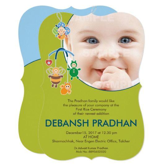 First Rice Ceremony Baby Mobile Invitation Zazzle Com In 2021 Mobile Invitations Baby Invitations Online Invitation Card