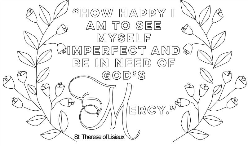 st therese on mercy catholic mothers coloring page