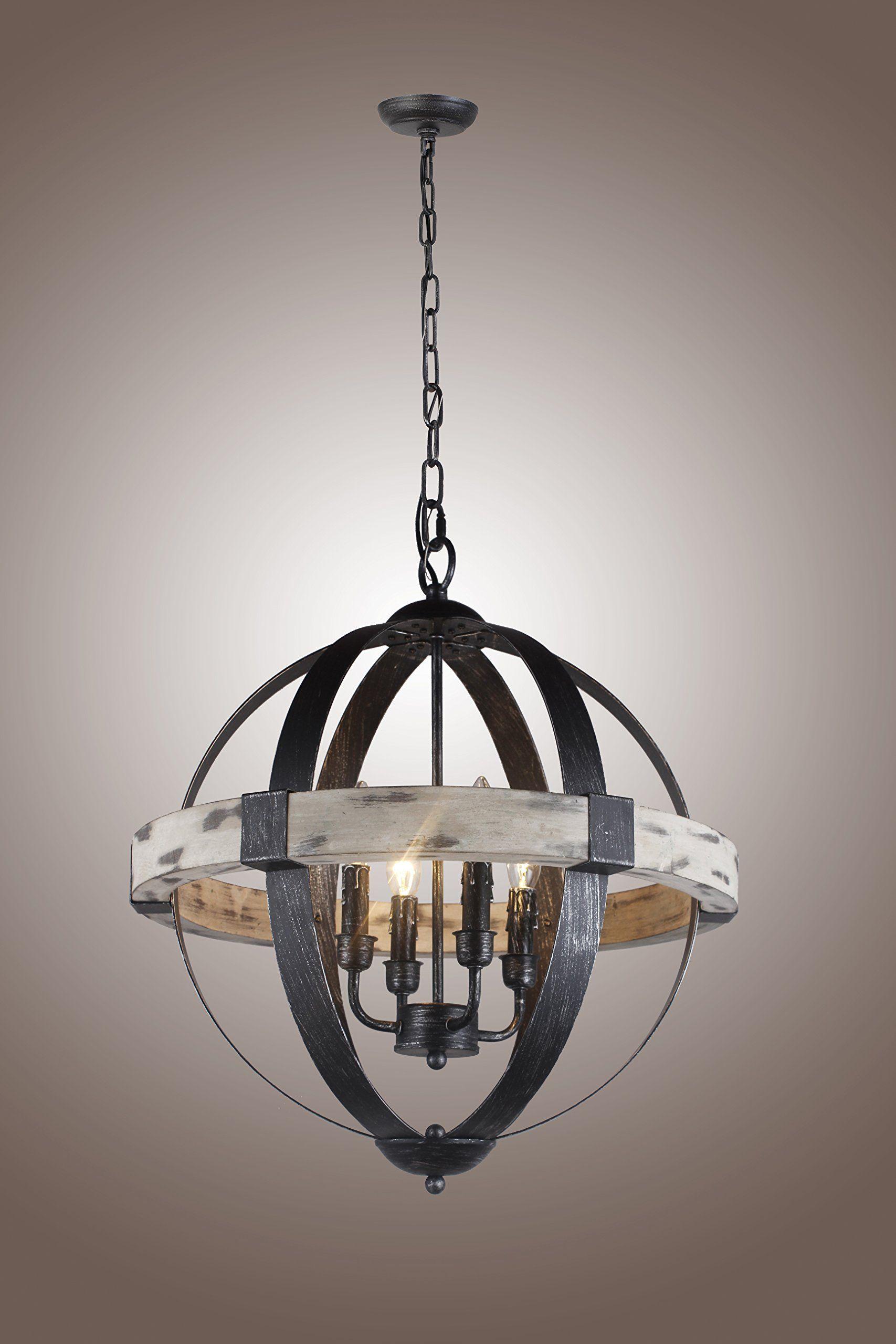 Castello Black Aspen Wrought Iron Globe Wood 4 Light Dia 20 Chandelier