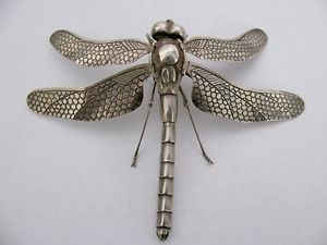 Jizai Okimono Silver Articulated Dragonfly - signed SOKO
