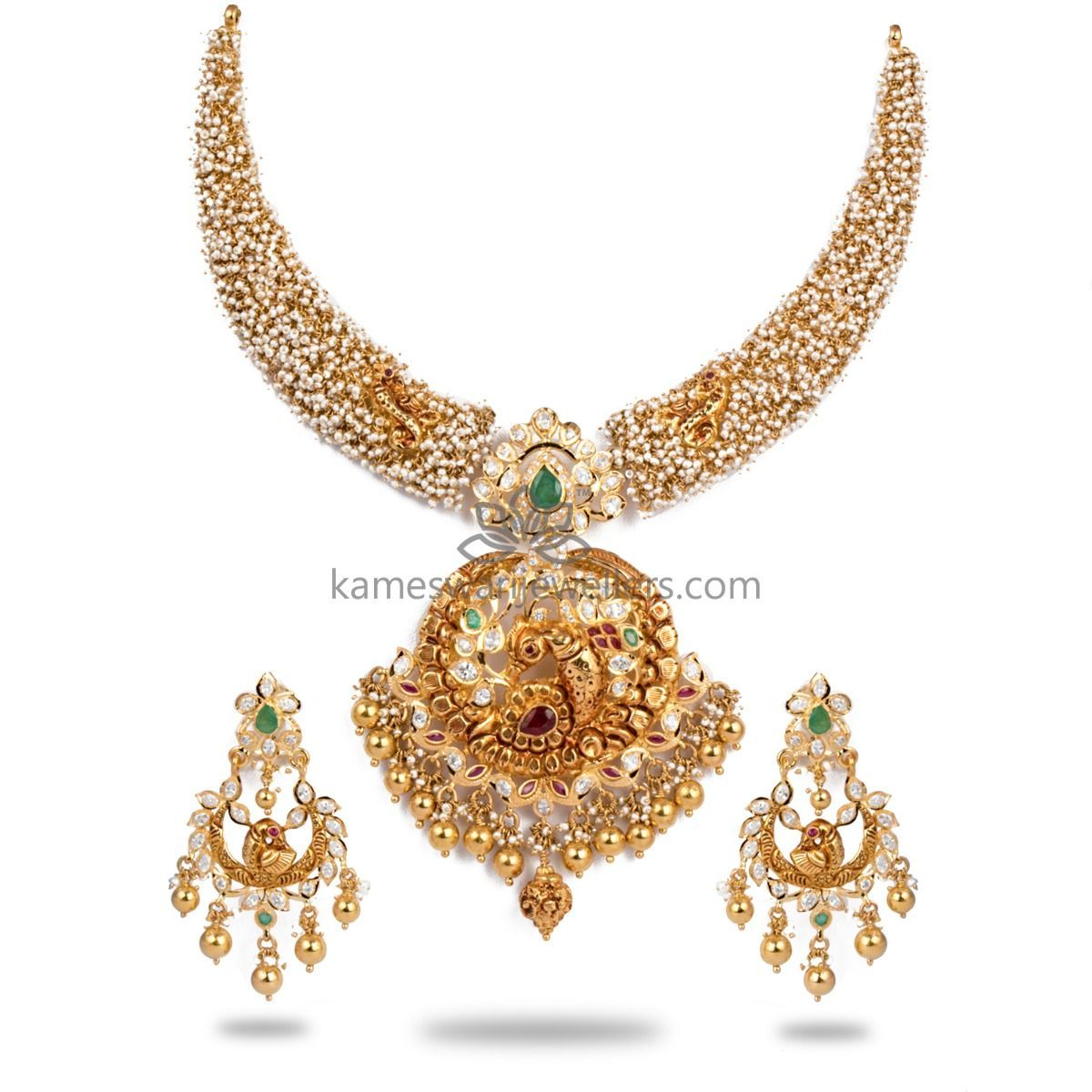 Buy Necklaces Online Grand Micropearl Kanti From Kameswari Jewellers We Ship Across India And U Buy Necklace Beautiful Gold Necklaces Big Stud Earrings