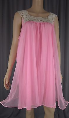 5b4851b486 Vintage Sheer Chiffon Overlay Nightgown Babydoll Nightie Pink Large XL XXL
