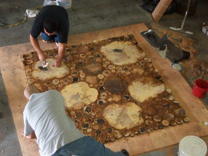 burl floor handmade, diy, flooring, woodworking projects, Gaps are fille with resin sawdust mixture