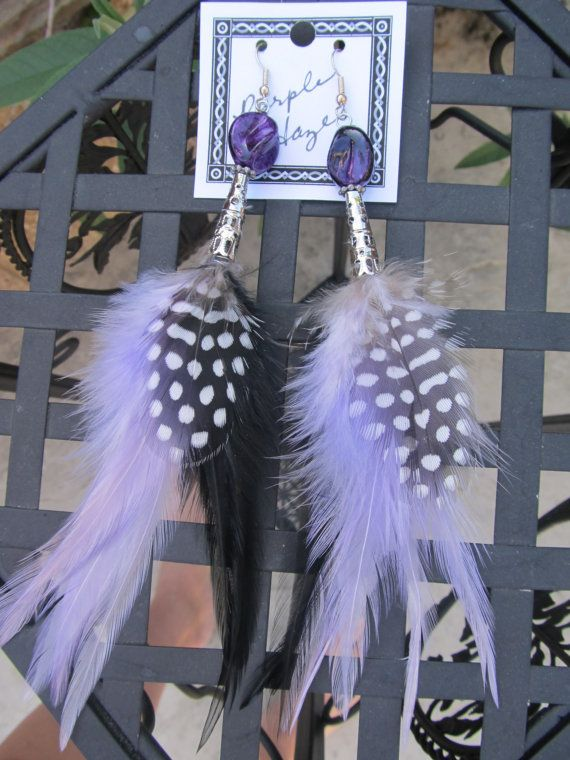 Feather Earrings  Purple Haze by clriegs on Etsy, $16.00