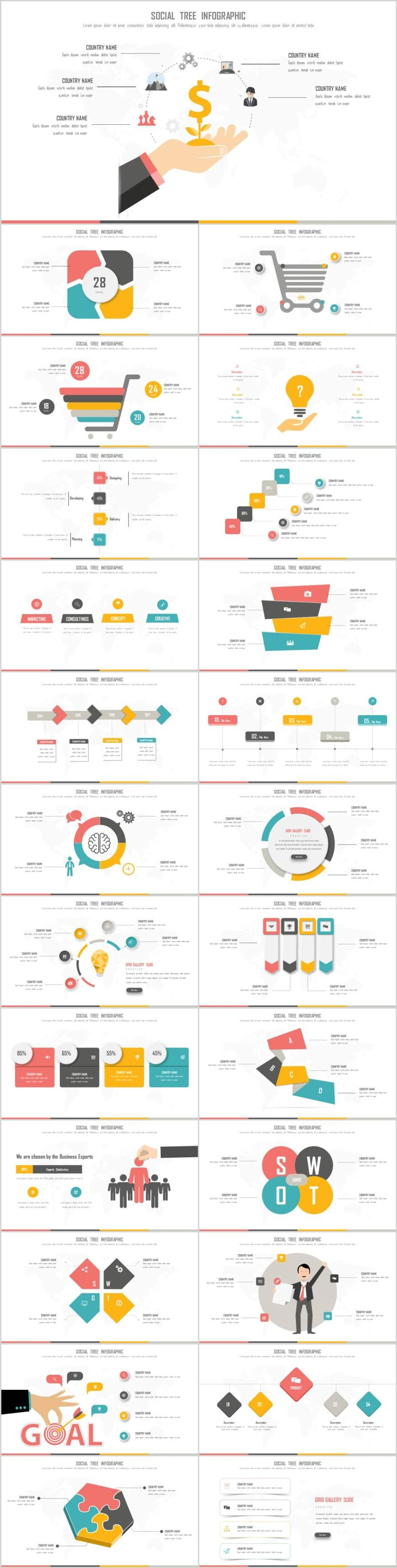 Clean Social tree infographics PowerPoint template