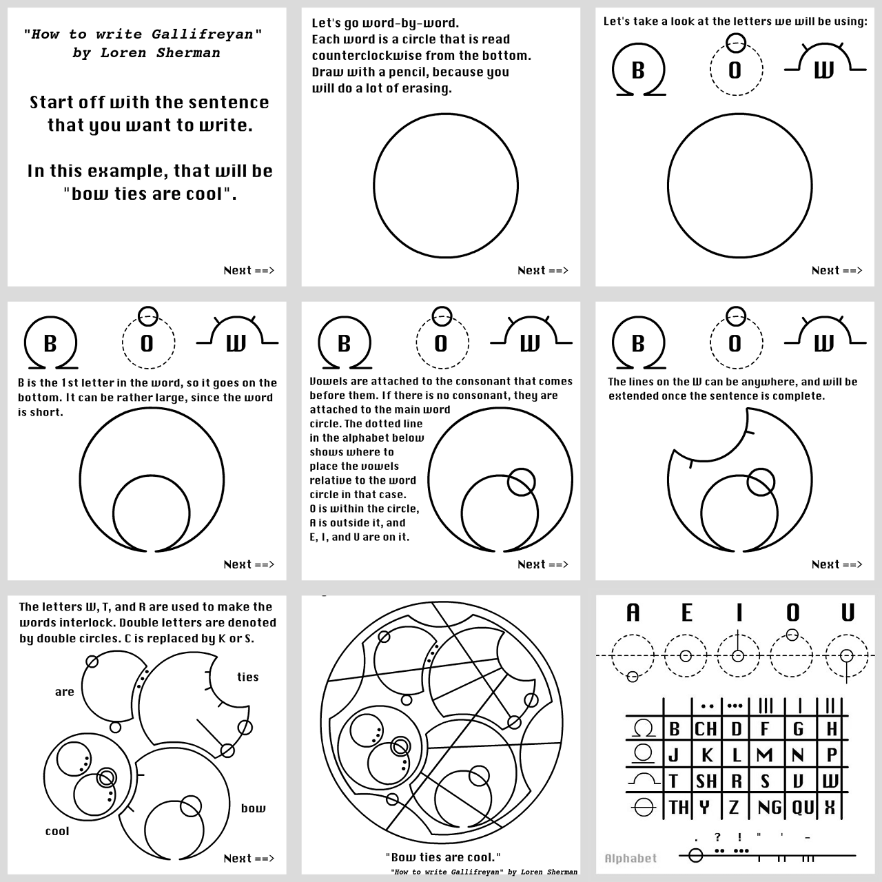 """Lets Write It All.. How to write galifreyan ;) Check comments, im going to post the alphabet for this.. How to write Gallifreyan"""" by Loren S..."""