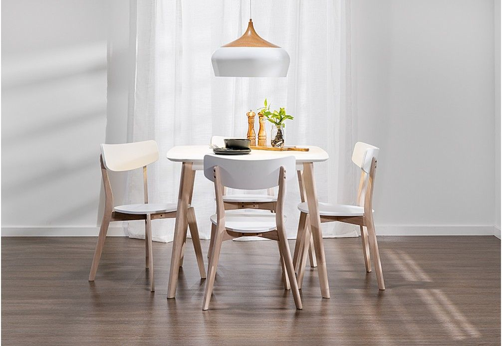 Available In White With Natural Legs * Consists Of 900 Dining Table And Dining  Chairs * Stylish Retro Design * Legs Constructed Using Environmentally ...
