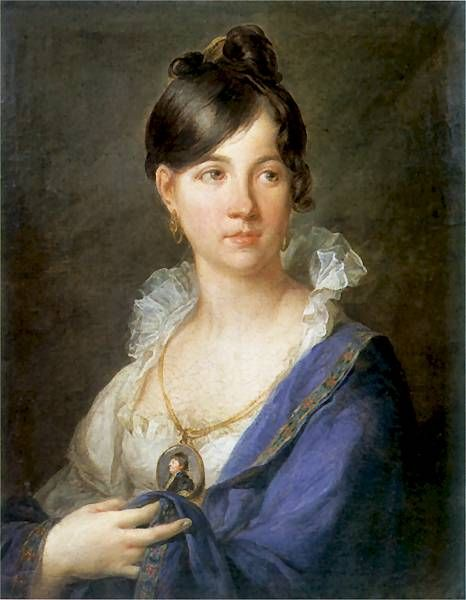 Smooth hair to one side and a curl to the other. Portrait of Maria z Borakowskich Magnuszewska by Franciszek Ksawery Lampi, 1815, Museum in Cracow. Poland