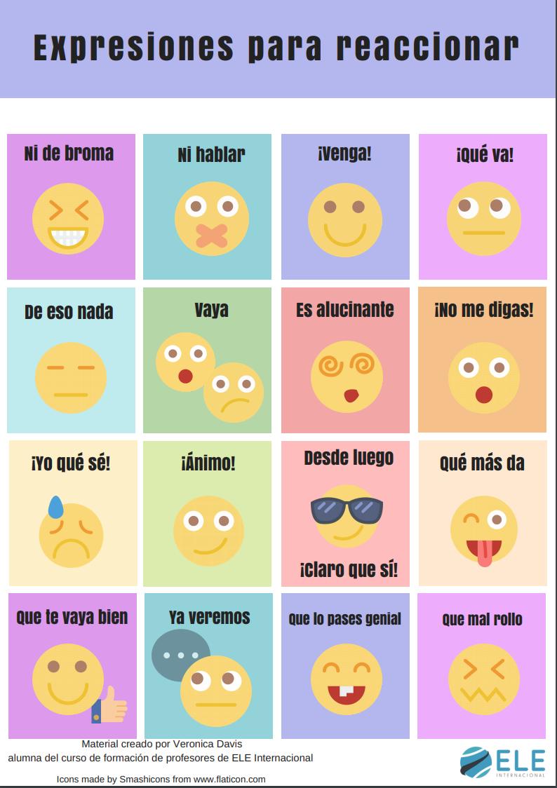 Expresiones Para Reaccionar En Clase De Espanol Speaking Activities Mfl Spanish Gcse Aprender Espanhol Espanhol Coisas De Escola