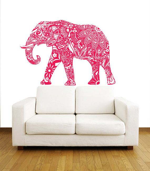 Indian Elephant Wall Decals - Floral Pattern Wall Vinyl Decal ...