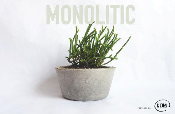Concrete Planters Large Bowl Por Monolitic En Etsy