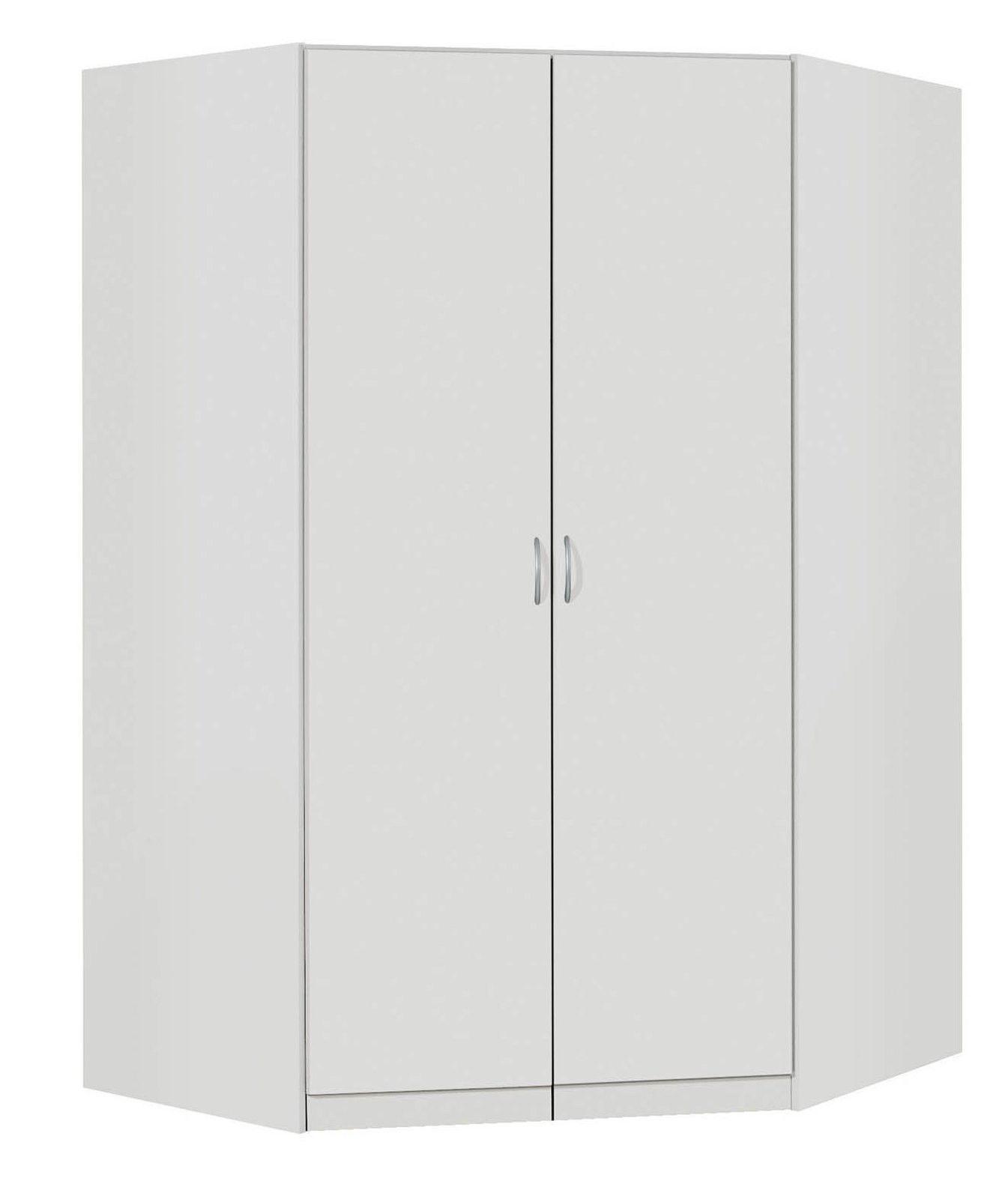 armoire d'angle contemporaine coloris blanc noa | armoires