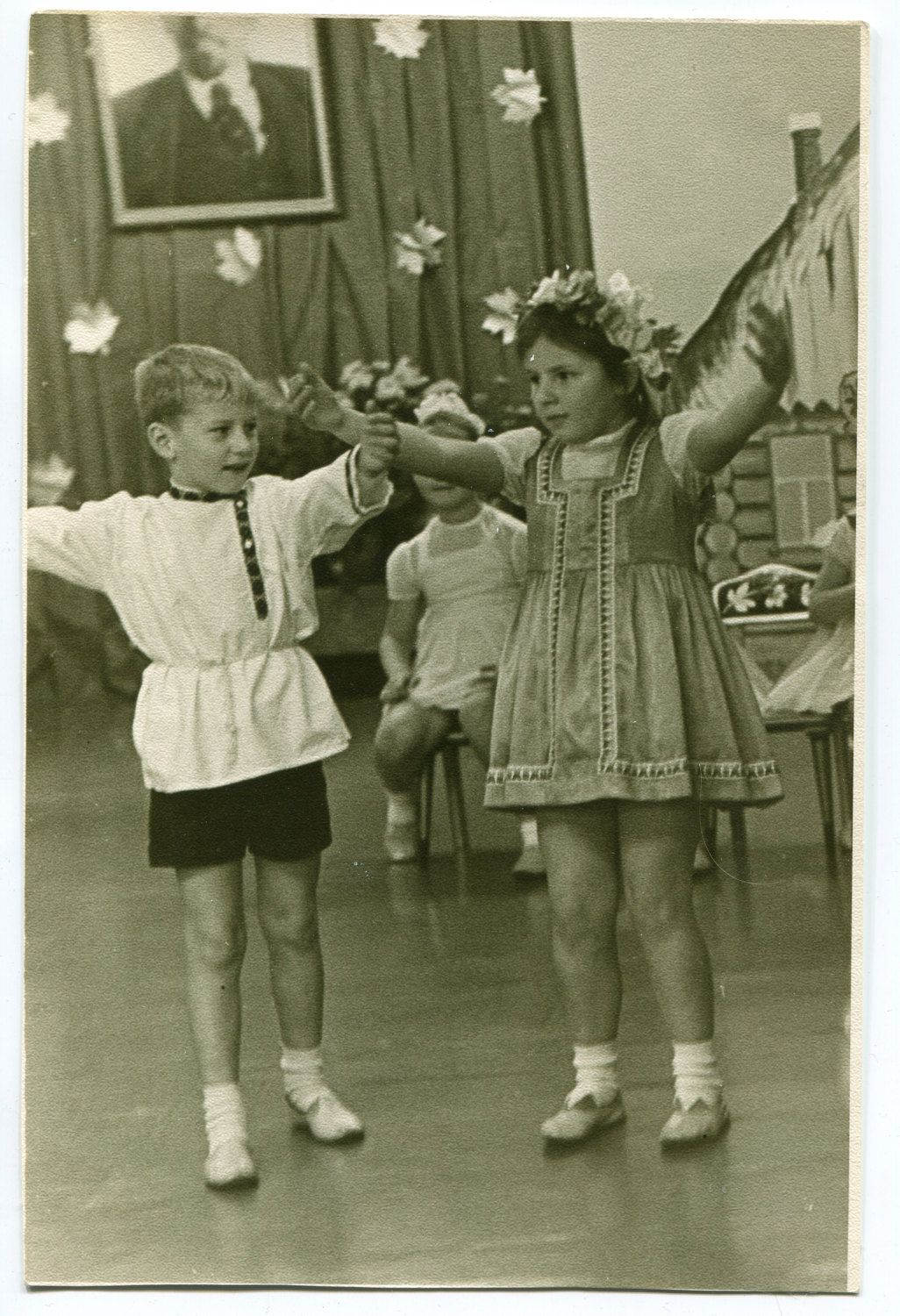 Boy and girl in Russian national costumes dancing Russia Soviet Union school party 1971 fashion ORIGINAL vintage photo LARGE by PhotoMemoriesLane on Etsy