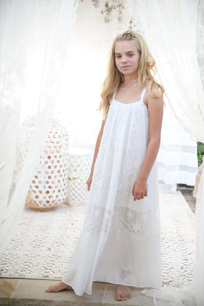 7700985e92e Lotus dress in Snow white Bohemian Flower Girl Flowergirls Flower girl  dresses