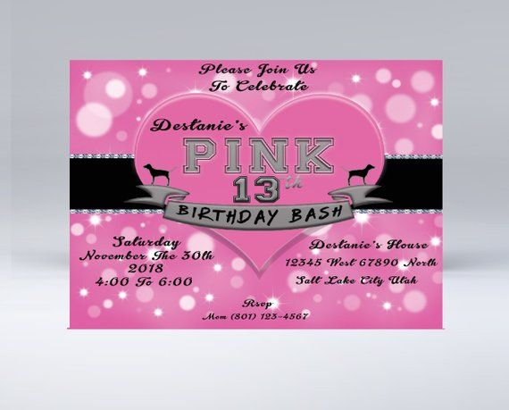 Victoria Secret Pink Inspired birthday invitation for teen girls