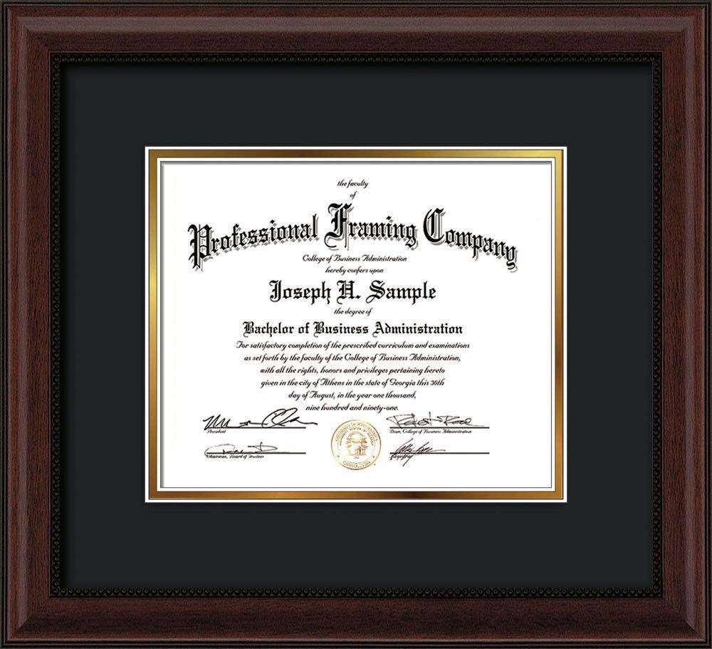 Custom Mahogany Bead Document - Certificate Frame - Black on Gold ...