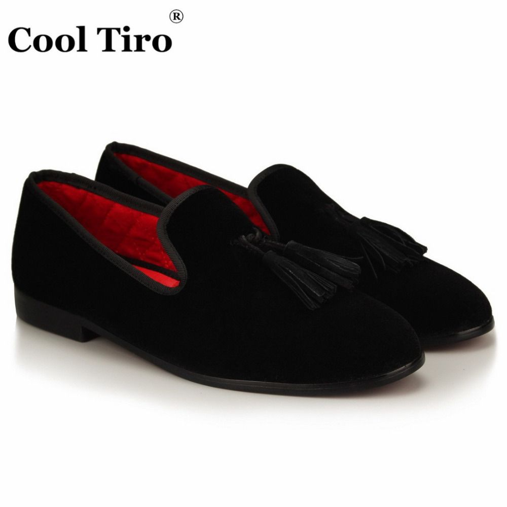 1017bb88a78   39% Off   COOL TIRO Black velvet shoes with tassel dress Wedding Party  Banquet men Red bottom smoking Slippers Loafers Slip-on shoes