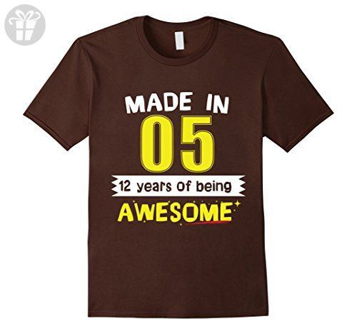 Mens Made In 2005 12th Birthday 12 Years Of Being Awesome T-Shirt XL Brown - Birthday shirts (*Amazon Partner-Link)