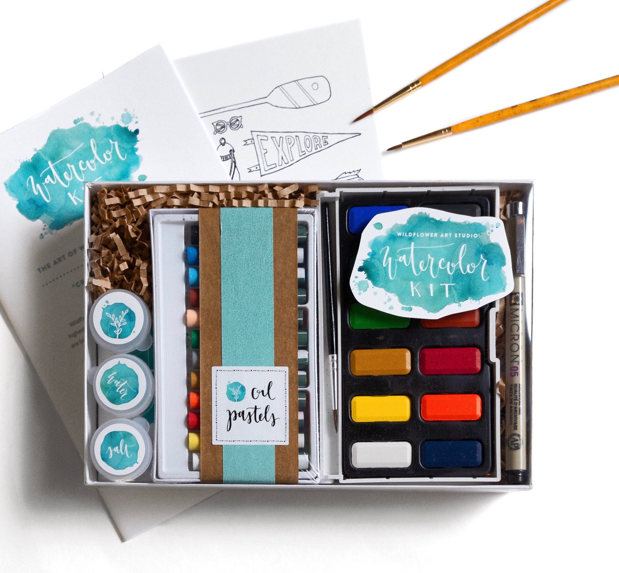 Diy Watercolor Kit For Beginners Instruction Book Supplies