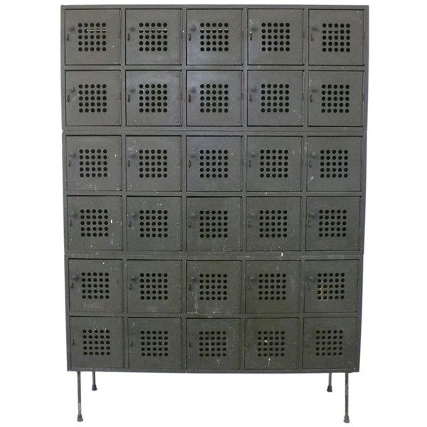 Industrial Locker Cabinet with Perforated Masonite Doors at 1stdibs ❤ liked on Polyvore