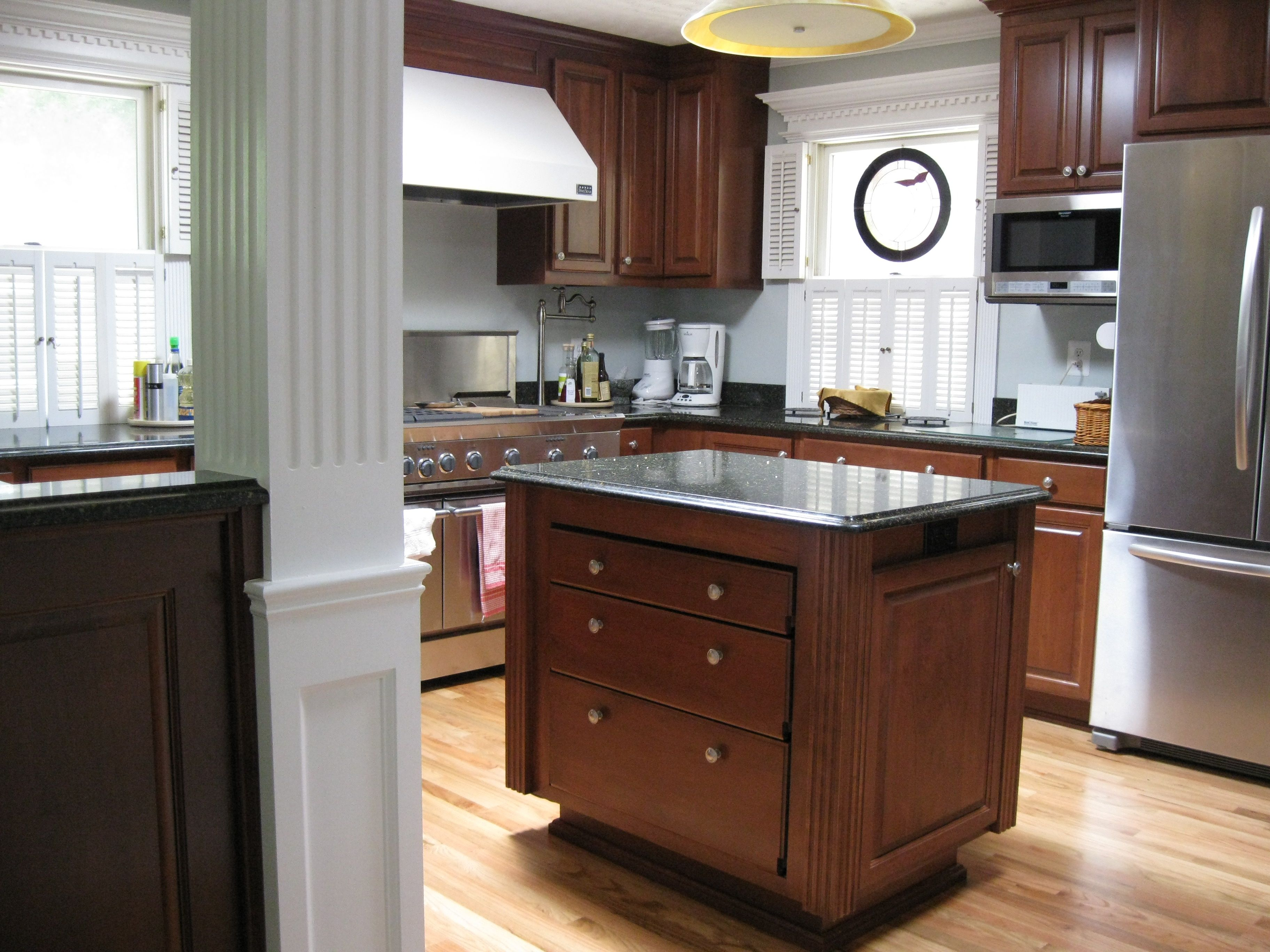 This kitchen is built out of cherry.