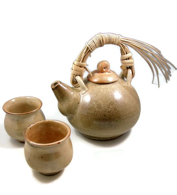 Pottery Teapot Set W Cane Handle Handmade Ceramic Wheel Pottery Teapots Tea Pots Ceramic Teapot Set