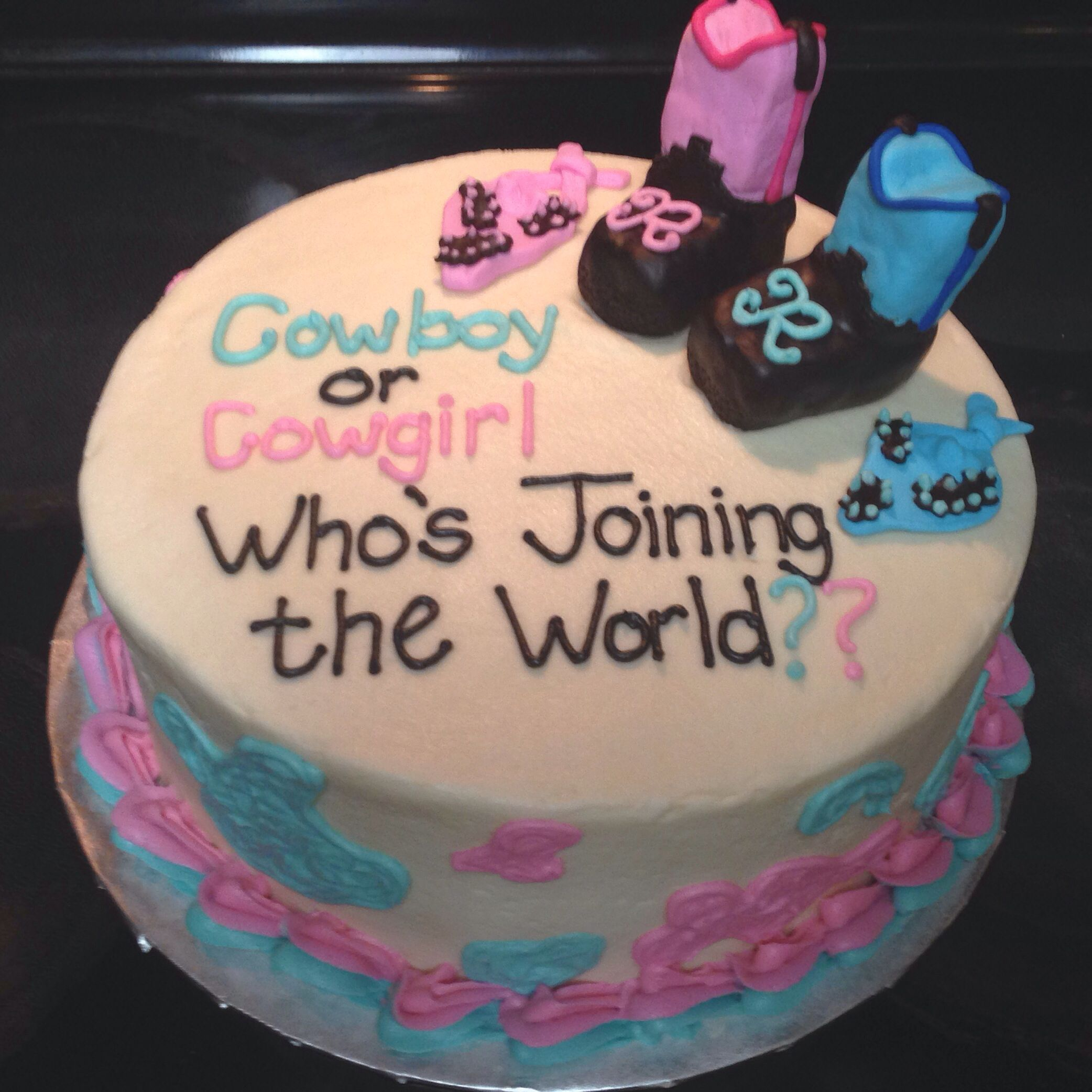 Baby gender reveal cake with cowboy boots and bandanas #lastlapbakery