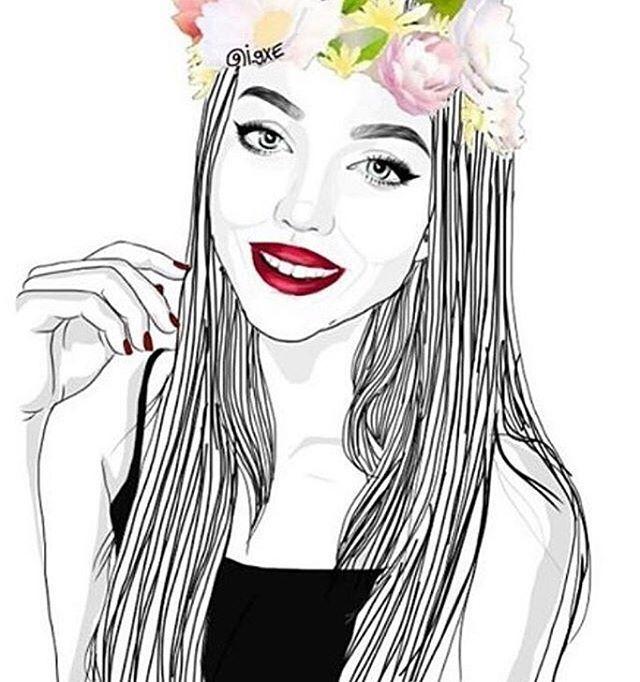Outline Outlines Tumblr Girl Illustration Drawing