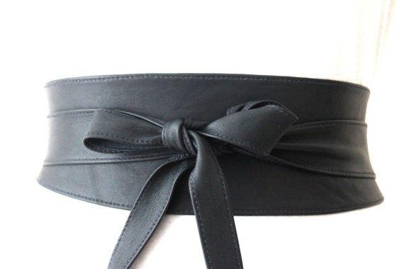 REDUCED Navy Blue Leather Obi Belt  Waist or Hip by LoveYaaYaa