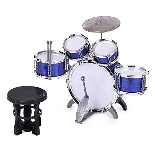 ammoon Children Kids Drum Set Musical Instrument Toy 5 Drums with Small Cymbal Stool Drum Sticks for Boys Girls ** Want additional info? Click on the image.