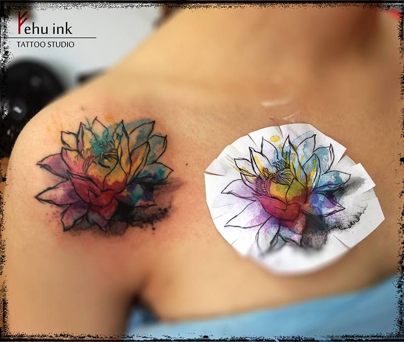 lotus watercolor tattoo. Like Water colour idea. This placement!