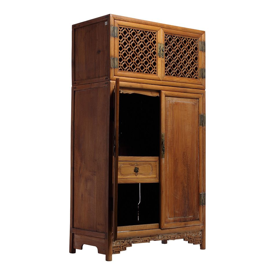 Antique Large Kitchen Cabinet Armoire With Fretwork Top From 19th Century China Chinese Kitchen Cabinets Large Kitchen Cabinets Kitchen Cabinets