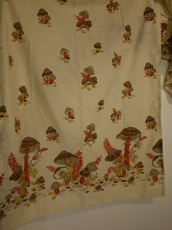 Vintage 60s Mushroom Curtains Valance And 2 By Grammykayfinds Perfect Curtains For My Mushroom Themed Kitchen Kitchen Themes Curtains Valance Curtains